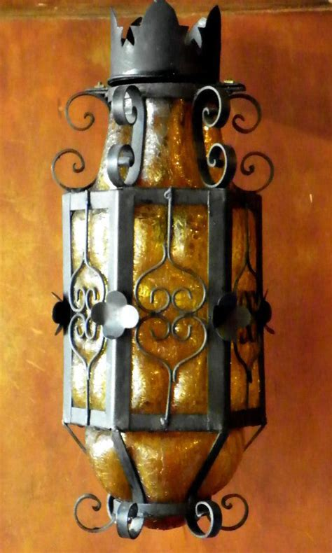 Rare Mexican Craquelle Glass and Wrought Iron Light