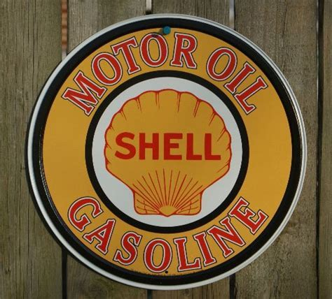 Shell Motor Oil Round Tin Metal Vintage Style Sign Garage