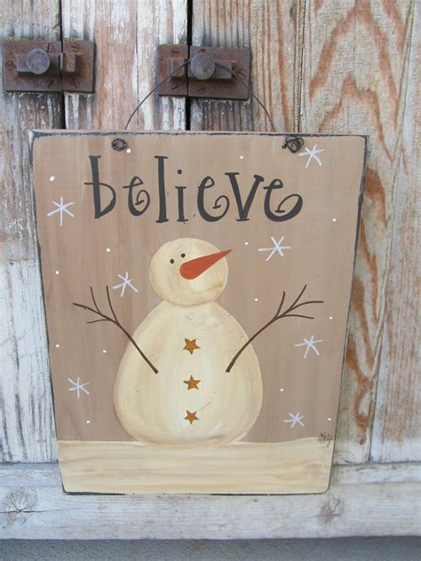 primitive  snowman hand painted winter sign