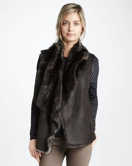 Drape Vest - vince shearling drape vest in brown dk brown lyst