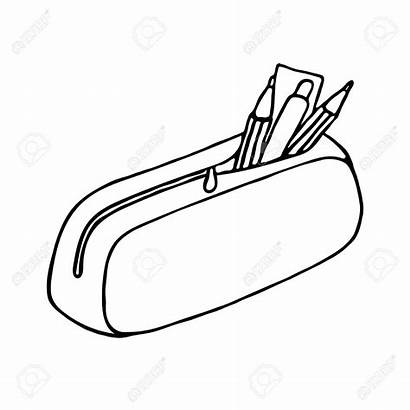 Pencil Case Drawing Box Icon Illustration Outline