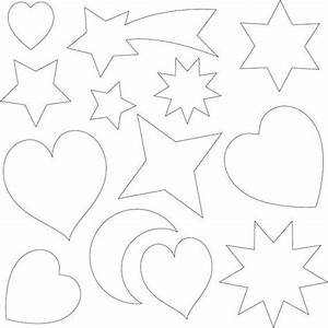 Templates, For, Applique, Various, Shapes, Hearts, Moon, Stars