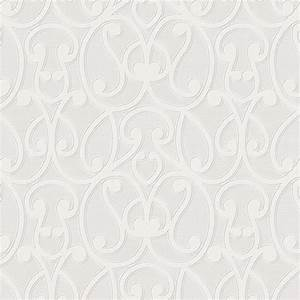 'Wrap' White Paintable Textured Damask Wallpaper