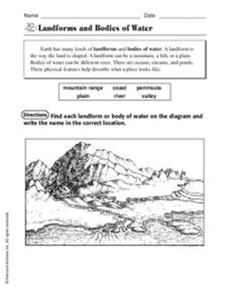 landforms and bodies of water worksheet for 1st 3rd