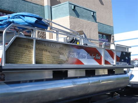 Vinyl Wrap For Boat Near Me by Constitution Pontoon Boat Wrap Designed Printed And