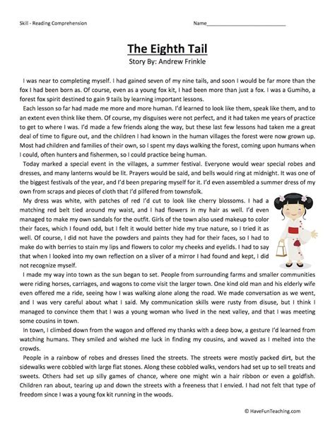 The Eighth Tale  Reading Comprehension Worksheet