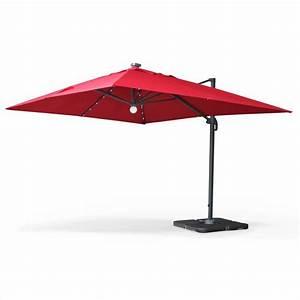 Grand Parasol Rectangulaire : parasol d port solaire led 3x4m luce rouge haut de gamme avec lumi re int gr e hu3x4ledred ~ Teatrodelosmanantiales.com Idées de Décoration