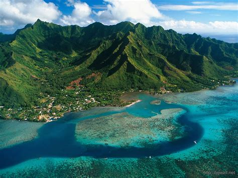 Aerial View Of Moorea Island French Polynesia Background