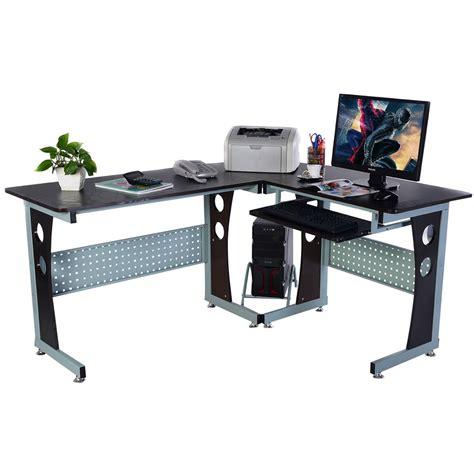 computer desk pc table costway wood l shape corner computer desk pc table
