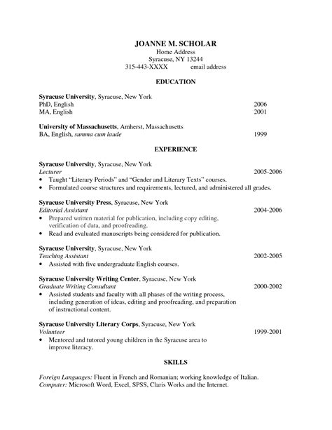 Phd Resume by Resume Phd