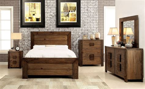 Aveiro Rustic Natural Panel Bedroom Set From Furniture Of