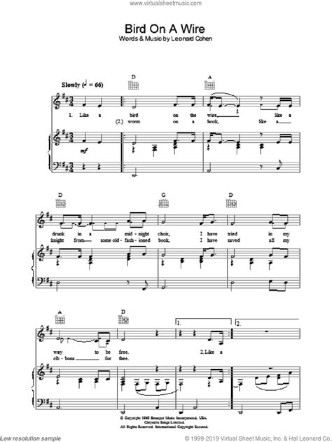 8,514 likes · 26 talking about this. Cohen - Bird On A Wire sheet music for voice, piano or guitar
