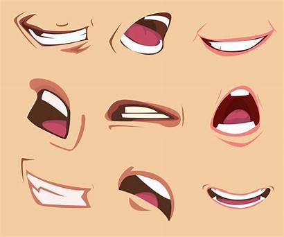 Mouth Cartoon Vector Expressions Anime Illustration Face