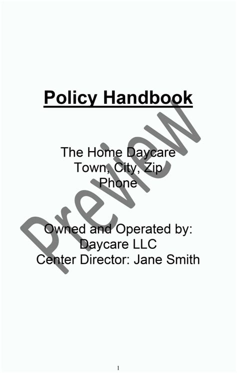 daycare policy handbook preview   start  daycare