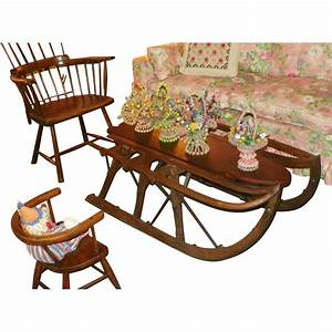 sale sled farm coffee table hand made antique With antique sled coffee table