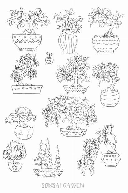 Coloring Bonsai Pages Printable Sticker Journal Succulent