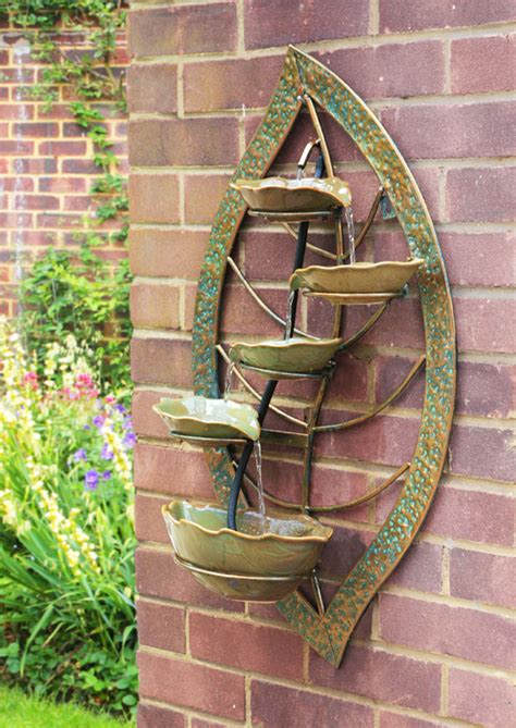 outdoor hanging water fountains verdigris leaf wall mounted cascade water feature 4 tier fountain yard decor new ebay
