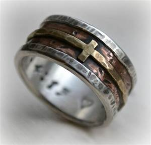mens wedding band rustic fine silver copper and brass With manly mens wedding rings
