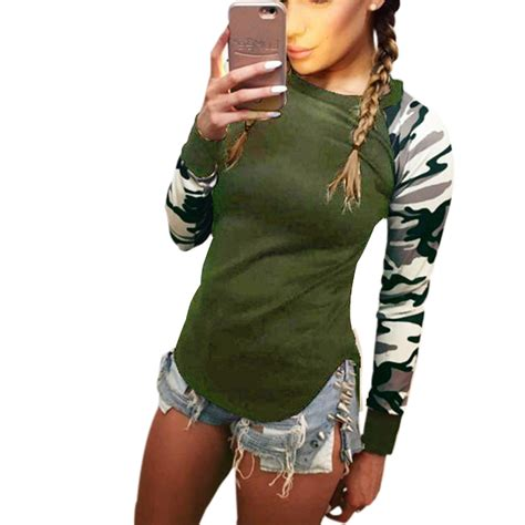 T Shirt Women 2017 Ladies Womens Camouflage Army Long