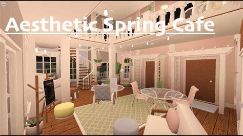 Pink cafe tour & speedbuild part 1. Aesthetic Spring Cafe    ROBLOX BLOXBURG - YouTube