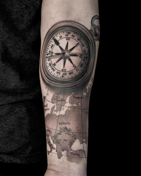 compass tattoo map tattoo arm tattoo black  grey