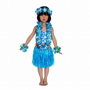 Vogue Kids Hawaiian Hula Grass Skirt Lei Headband Wristband Dance Dress Costume | eBay