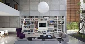 Grande Bibliothèque Murale : support cran t l mural pour salon contemporain ~ Teatrodelosmanantiales.com Idées de Décoration