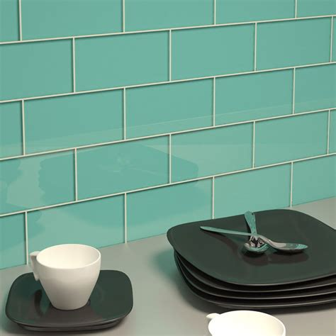 "Glass Subway Tile (teal)  3"" X 6"" Piece  Subway Tile"