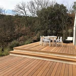 Escalier Terrasse Bois : escalier en bois exotique pour vos exterieurs parquet et ~ Nature-et-papiers.com Idées de Décoration