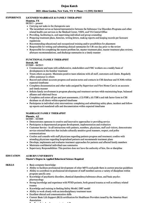 family therapist resume sles velvet