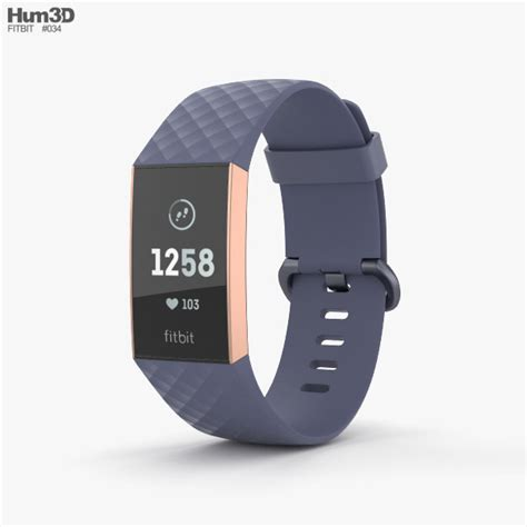 fitbit charge 3 blue 3d electronics on hum3d