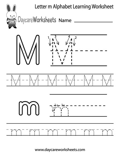 free letter m alphabet learning worksheet for preschool 411 | letter m alphabet learning worksheet printable