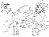 Coloring Cave Mountain Llama Bear Cartoon Mountains Animals Monkey Desert Waterfalls Bears Riding Waterfall Clipart Printable Bluebison Bats Llamas Crystal sketch template