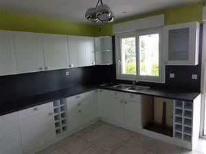 galerie photo renovation cuisine lyon With cuisine noir et blanc laque