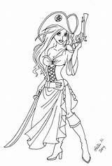 Coloring Pirate Adult Woman Female Pirates Deviantart sketch template