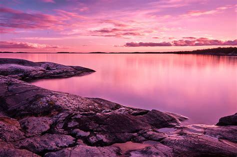 wallpaper sunset scenery lake rocks pink sky