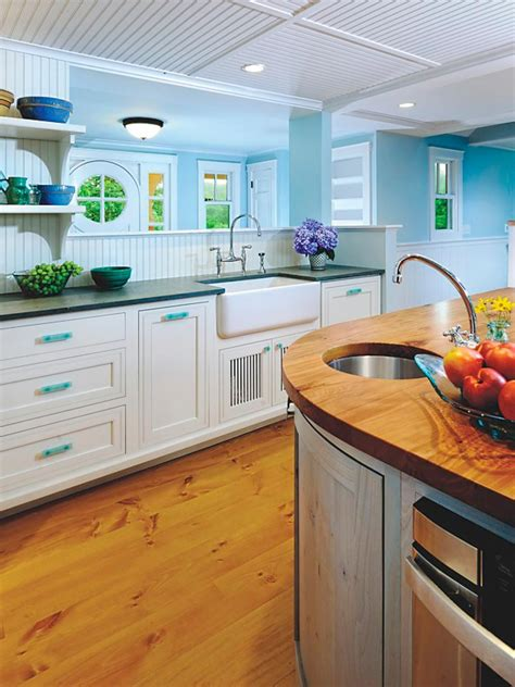 contemporary blue white kitchen with beadboard ceiling