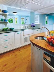 contemporary blue white kitchen with beadboard ceiling 2261