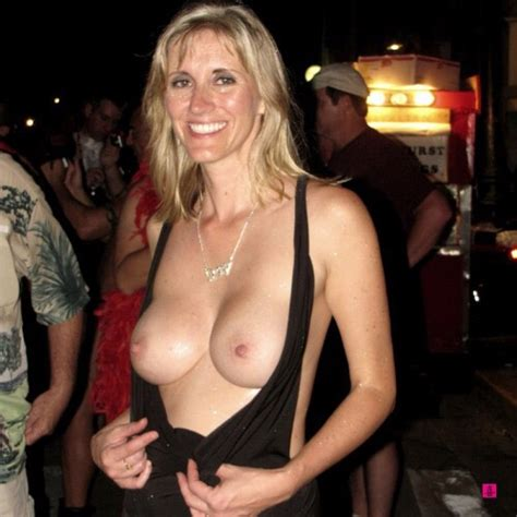 Sexy Blonde Wife Wears Open Boob Club Wear Dress Nudeshots