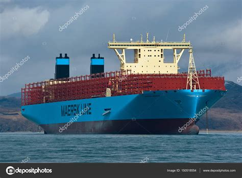 container ship madrid maersk stock editorial photo