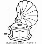 Gramophone Clipart Record Player Template Illustration Sketch sketch template