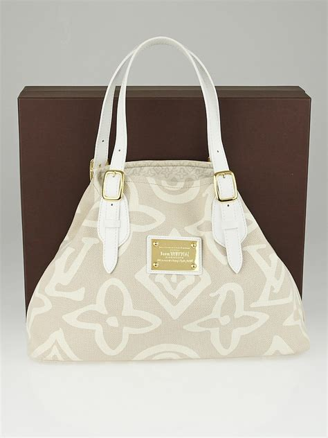 louis vuitton limited edition beige tahitienne cabas pm bag yoogis closet