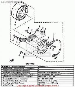 Yamaha Et340 Tf Enticer 1982  1983 C D I Magneto Et340tf  Tg