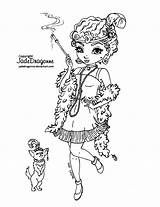Coloring Jadedragonne Deviantart Flapper 1920 Lineart Colouring Printable Drawings Adult Sheets Jade Dragonne Stamps Line Fairy Ink Coloriage Traditionnal Digital sketch template