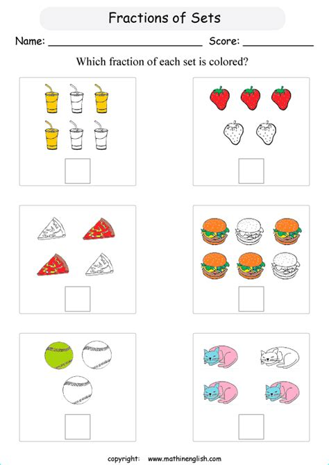 fraction sets worksheets fractions worksheets for prek k