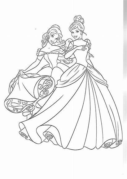 Coloring Disney Cinderella Belle Princess Coloriage Princesse
