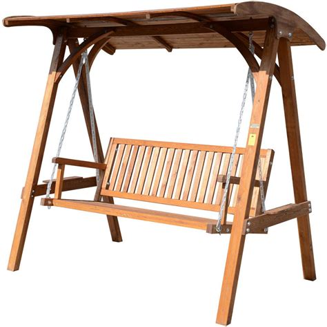 outsunny 3 seater larch wooden garden swing chair seat