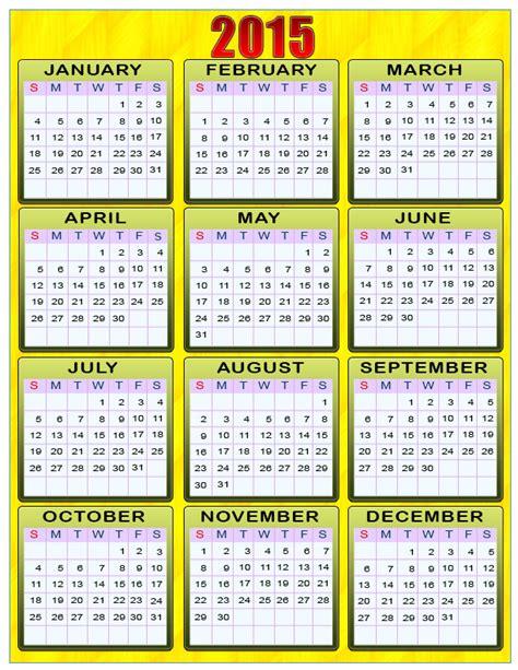 2015 Year Calendar Printable