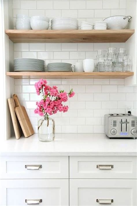 maple shaker style cabinets open shelving for an affordable kitchen update