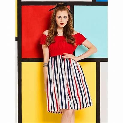 Dresses 60s Puff Sleeve Summer Sweet Slim